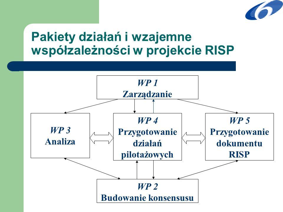 Pakiety działań i wzajemne współzależności w projekcie RISP WP 1 Zarządzanie WP 3 Analiza WP 4 Przygotowanie działań pilotażowych WP 2 Budowanie konse