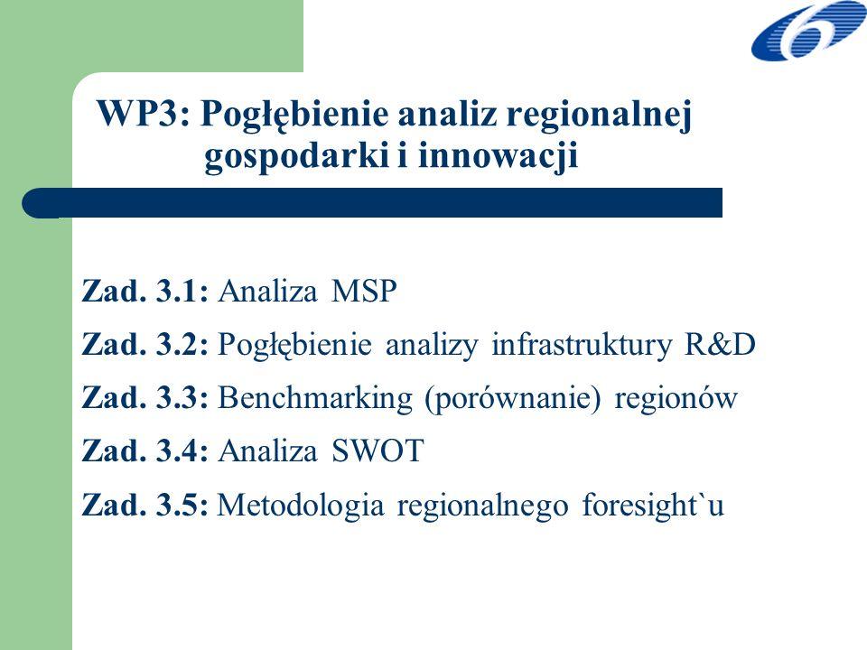 WP3: Pogłębienie analiz regionalnej gospodarki i innowacji Zad. 3.1: Analiza MSP Zad. 3.2: Pogłębienie analizy infrastruktury R&D Zad. 3.3: Benchmarki