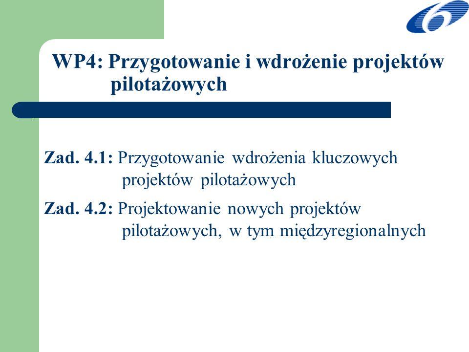 WP4: Przygotowanie i wdrożenie projektów pilotażowych Zad. 4.1: Przygotowanie wdrożenia kluczowych projektów pilotażowych Zad. 4.2: Projektowanie nowy