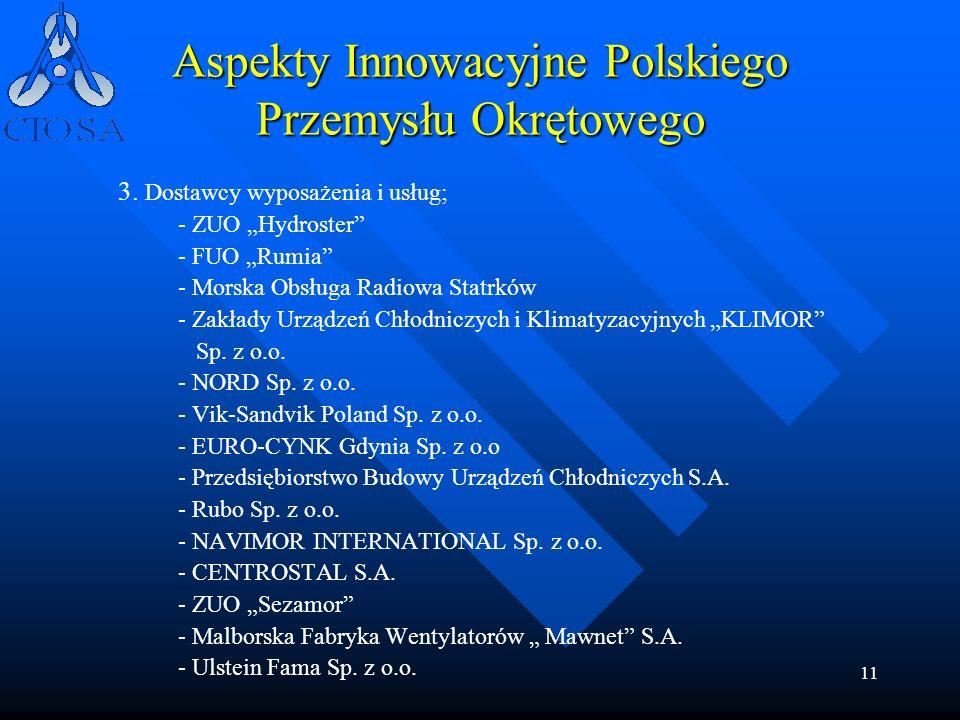 11 Aspekty Innowacyjne Polskiego Przemysłu Okrętowego 3. Dostawcy wyposażenia i usług; - ZUO Hydroster - FUO Rumia - Morska Obsługa Radiowa Statrków -