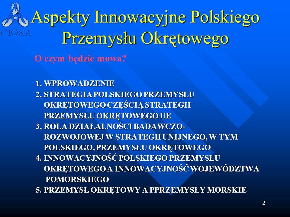 2 Aspekty Innowacyjne Polskiego Przemysłu Okrętowego 1. WPROWADZENIE 2. STRATEGIA POLSKIEGO PRZEMYSŁU OKRĘTOWEGO CZĘŚCIĄ STRATEGII OKRĘTOWEGO CZĘŚCIĄ
