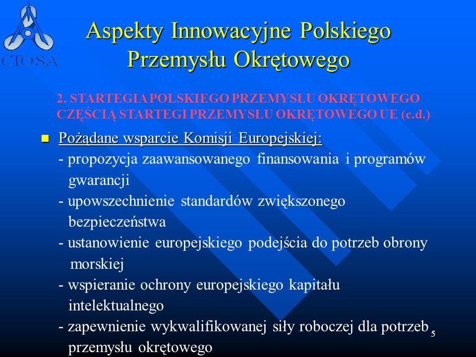 5 Aspekty Innowacyjne Polskiego Przemysłu Okrętowego Pożądane wsparcie Komisji Europejskiej: Pożądane wsparcie Komisji Europejskiej: - propozycja zaaw