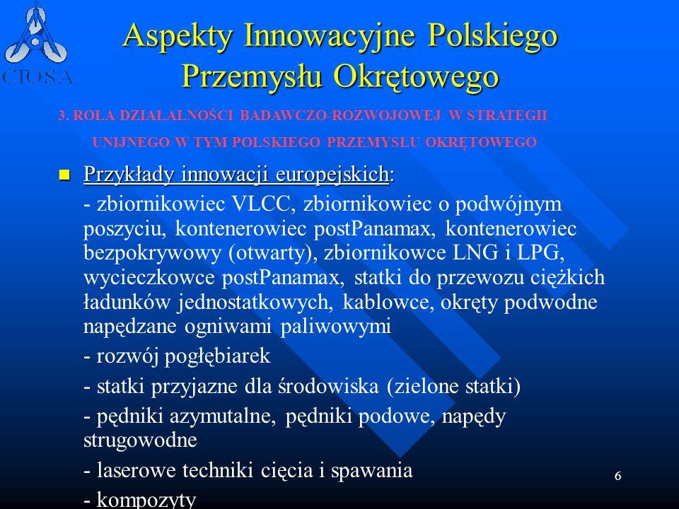 6 Aspekty Innowacyjne Polskiego Przemysłu Okrętowego Przykłady innowacji europejskich: Przykłady innowacji europejskich: - zbiornikowiec VLCC, zbiorni