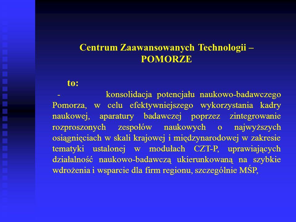 Centrum Zaawansowanych Technologii – POMORZE to: - konsolidacja potencjału naukowo-badawczego Pomorza, w celu efektywniejszego wykorzystania kadry nau