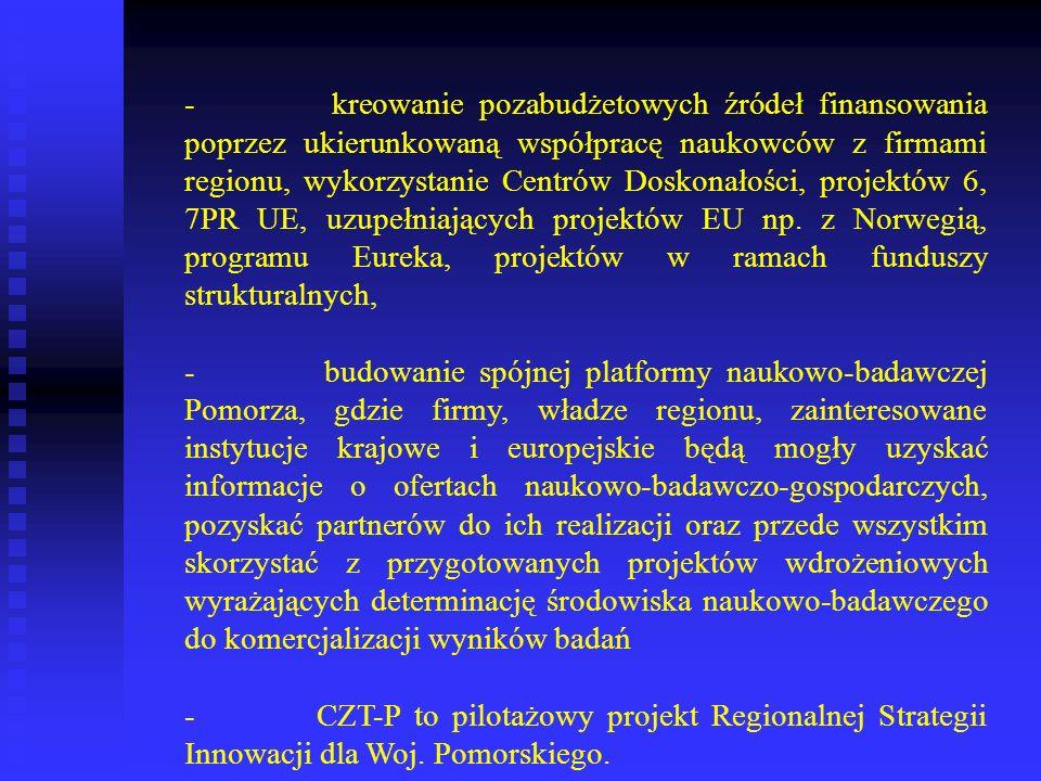 - kreowanie pozabudżetowych źródeł finansowania poprzez ukierunkowaną współpracę naukowców z firmami regionu, wykorzystanie Centrów Doskonałości, proj
