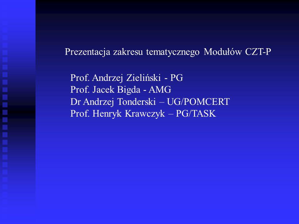 Prezentacja zakresu tematycznego Modułów CZT-P Prof. Andrzej Zieliński - PG Prof. Jacek Bigda - AMG Dr Andrzej Tonderski – UG/POMCERT Prof. Henryk Kra