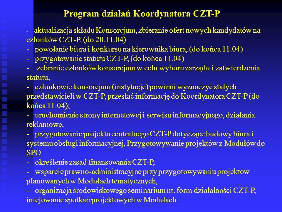 - aktualizacja składu Konsorcjum, zbieranie ofert nowych kandydatów na członków CZT-P, (do 20.11.04) - powołanie biura i konkursu na kierownika biura,