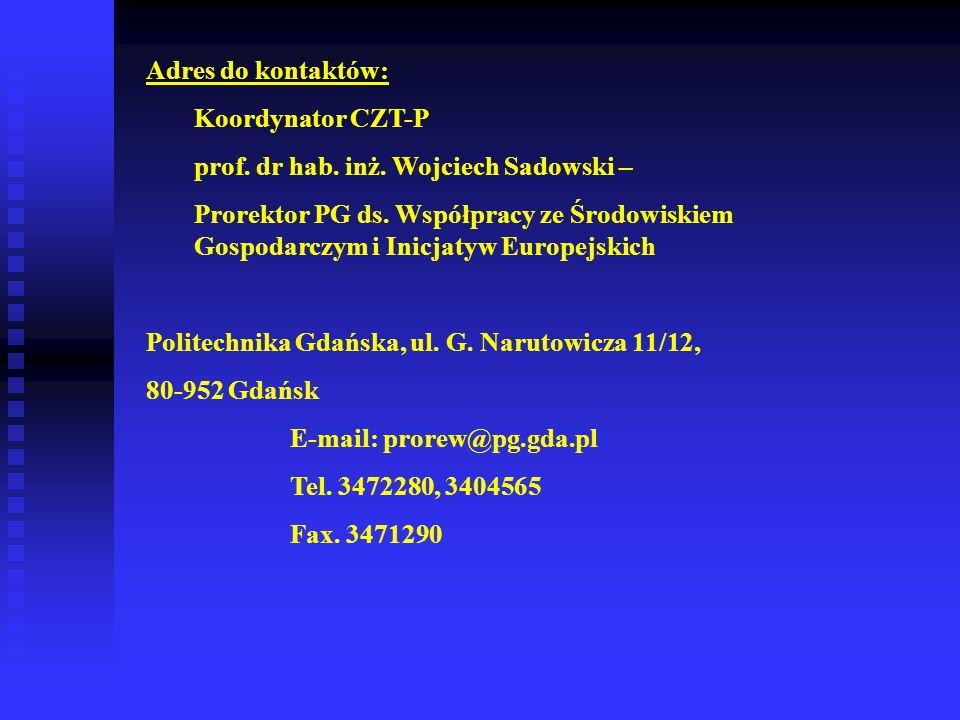 Adres do kontaktów: Koordynator CZT-P prof. dr hab. inż. Wojciech Sadowski – Prorektor PG ds. Współpracy ze Środowiskiem Gospodarczym i Inicjatyw Euro