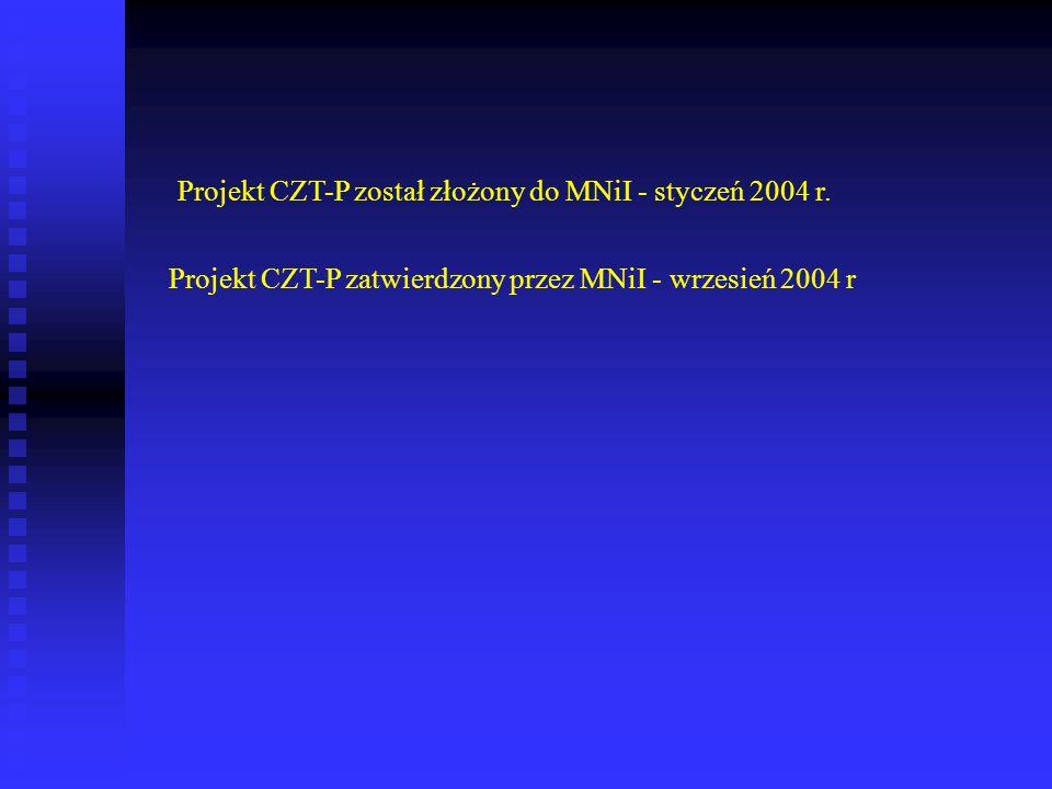 Projekt CZT-P został złożony do MNiI - styczeń 2004 r. Projekt CZT-P zatwierdzony przez MNiI - wrzesień 2004 r