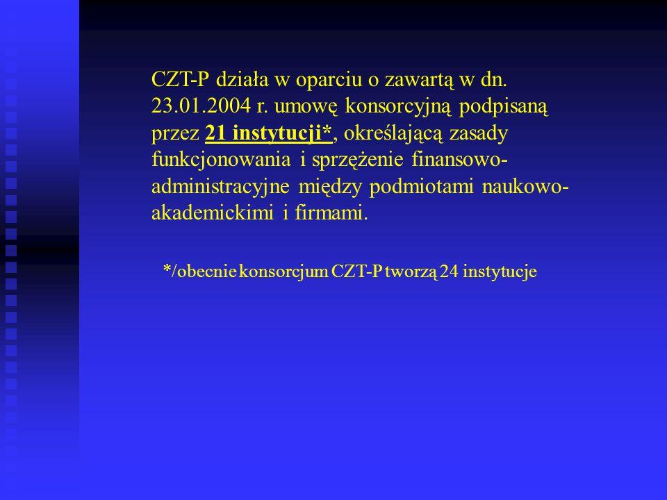 CZT-P działa w oparciu o zawartą w dn. 23.01.2004 r. umowę konsorcyjną podpisaną przez 21 instytucji*, określającą zasady funkcjonowania i sprzężenie