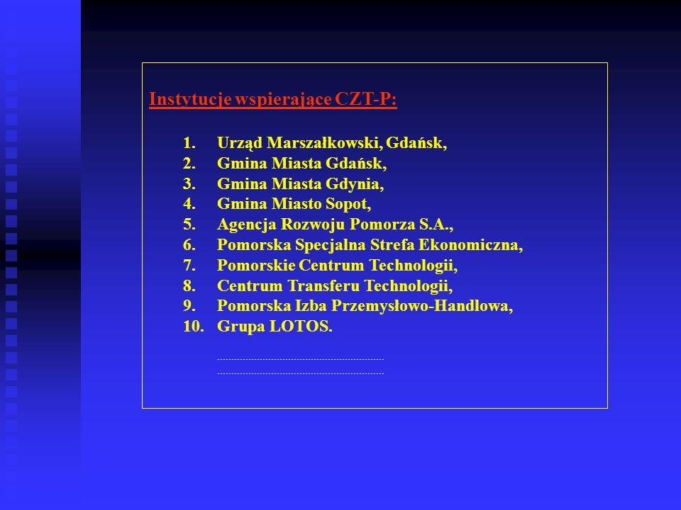 Instytucje wspierające CZT-P: 1.Urząd Marszałkowski, Gdańsk, 2.Gmina Miasta Gdańsk, 3.Gmina Miasta Gdynia, 4.Gmina Miasto Sopot, 5.Agencja Rozwoju Pom