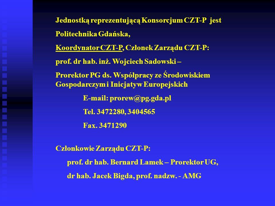 Jednostką reprezentującą Konsorcjum CZT-P jest Politechnika Gdańska, Koordynator CZT-P, Członek Zarządu CZT-P: prof. dr hab. inż. Wojciech Sadowski –