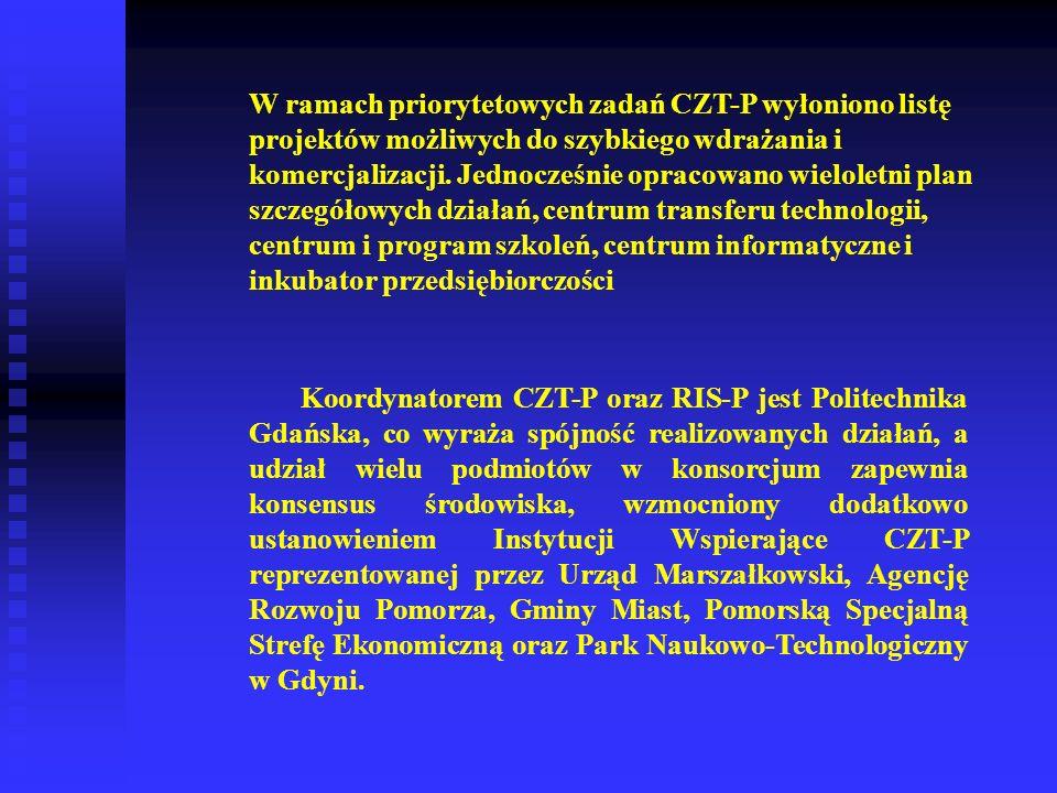 W ramach priorytetowych zadań CZT-P wyłoniono listę projektów możliwych do szybkiego wdrażania i komercjalizacji. Jednocześnie opracowano wieloletni p