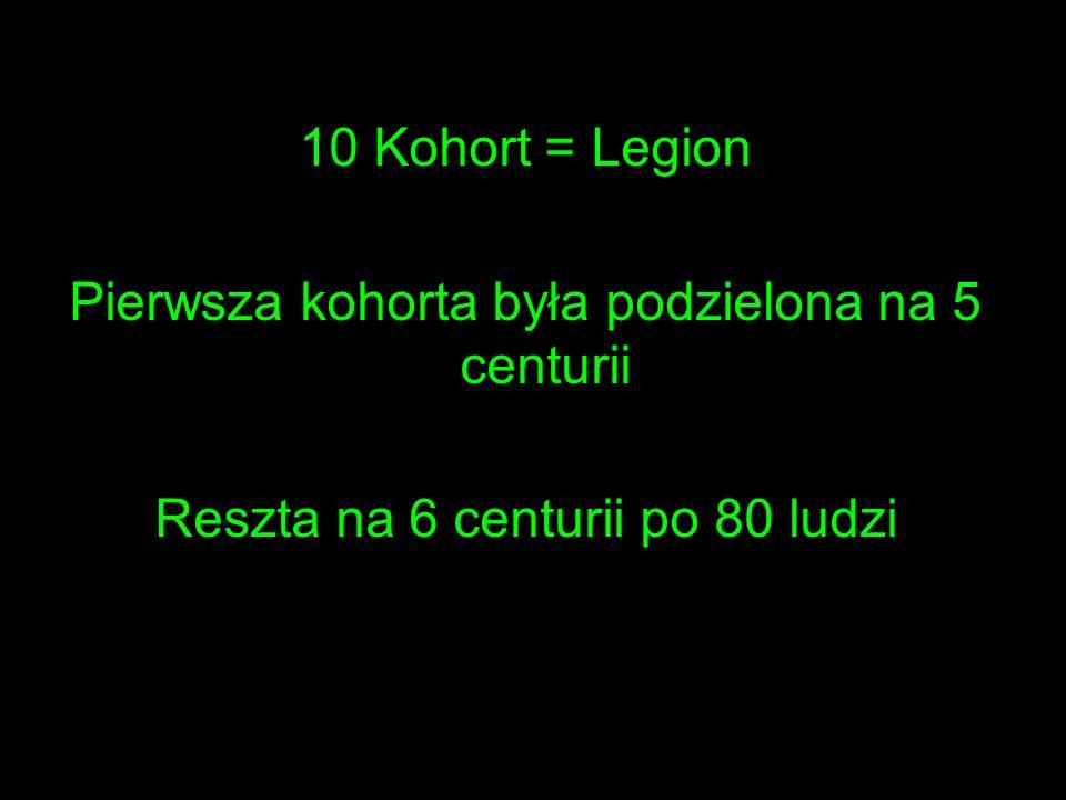 10 Kohort = Legion Pierwsza kohorta była podzielona na 5 centurii Reszta na 6 centurii po 80 ludzi