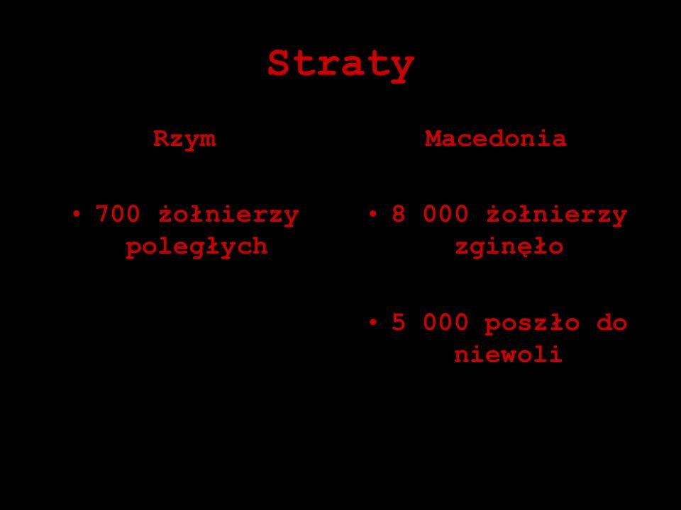 Straty Rzym 700 żołnierzy poległych Macedonia 8 000 żołnierzy zginęło 5 000 poszło do niewoli