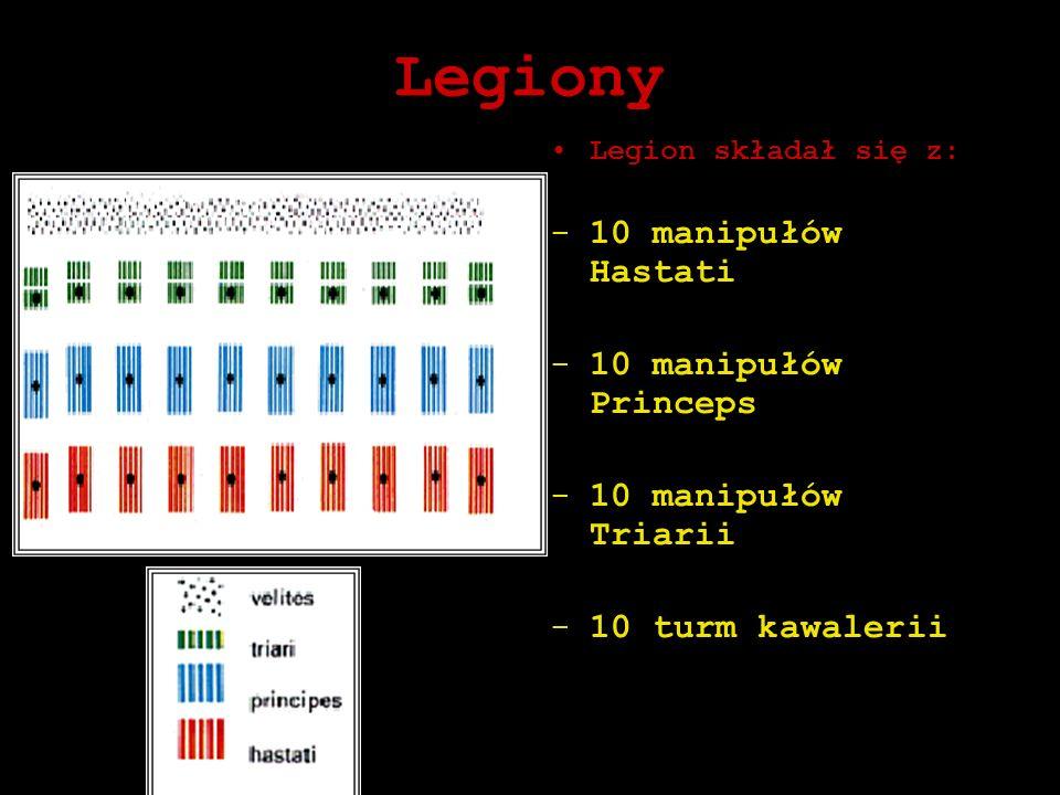 Legiony Legion składał się z: -10 manipułów Hastati -10 manipułów Princeps -10 manipułów Triarii -10 turm kawalerii