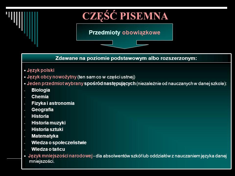Egzamin maturalny w 2008 roku.13 Język polski Język obcy nowożytny (ten sam co w części ustnej) Jeden przedmiot wybrany spośród następujących (niezale