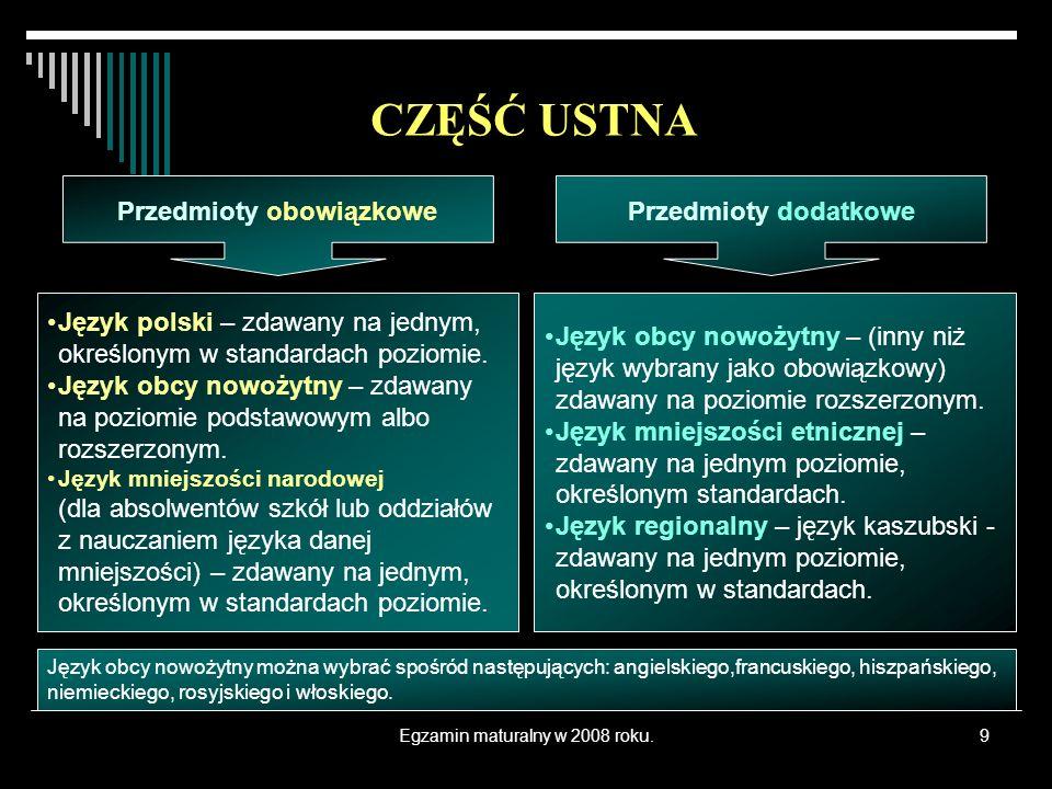 Egzamin maturalny w 2008 roku.9 Język polski – zdawany na jednym, określonym w standardach poziomie. Język obcy nowożytny – zdawany na poziomie podsta