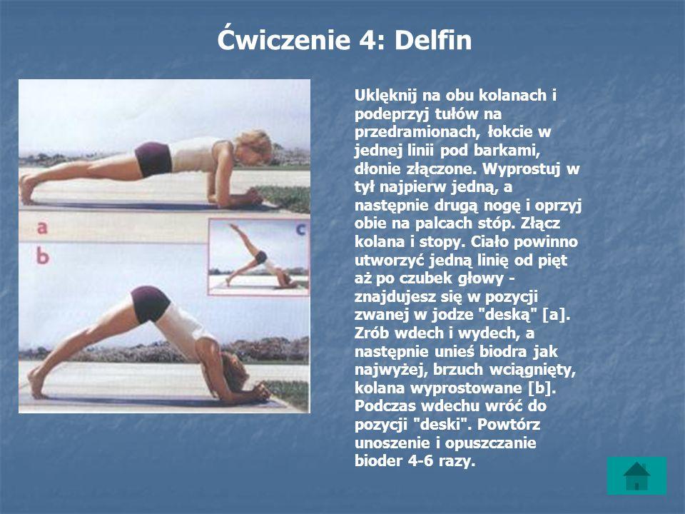 Ćwiczenie 4: Delfin Uklęknij na obu kolanach i podeprzyj tułów na przedramionach, łokcie w jednej linii pod barkami, dłonie złączone.