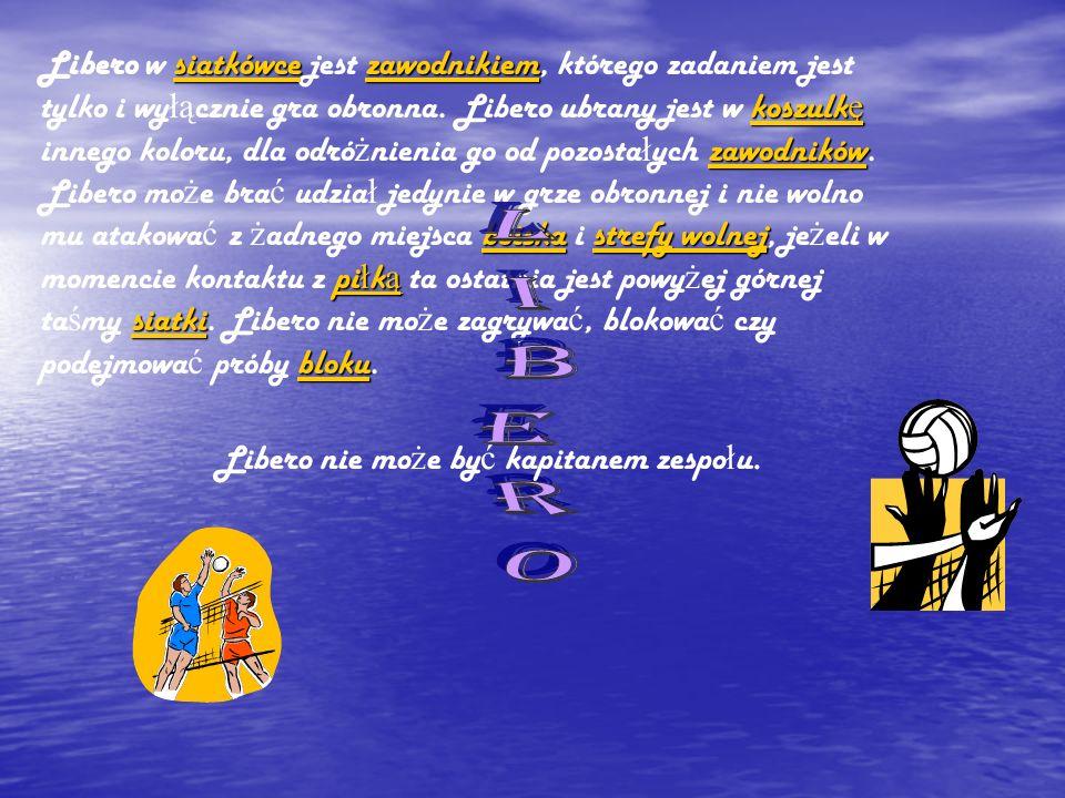 siatkówcezawodnikiem koszulk ę zawodników boiskastrefy wolnej pi ł k ą siatki bloku siatkówcezawodnikiem koszulk ę zawodników boiskastrefy wolnej pi ł k ą siatki bloku Libero w siatkówce jest zawodnikiem, którego zadaniem jest tylko i wy łą cznie gra obronna.