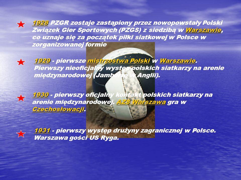 1928 Warszawie 19281928 Warszawie 1928 PZGR zostaje zastąpiony przez nowopowstały Polski Związek Gier Sportowych (PZGS) z siedzibą w Warszawie, co uznaje się za początek piłki siatkowej w Polsce w zorganizowanej formieWarszawie 1929mistrzostwa PolskiWarszawie 19291929mistrzostwa PolskiWarszawie 1929 - pierwsze mistrzostwa Polski w Warszawie.
