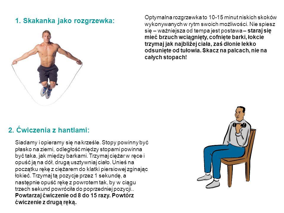 1. Skakanka jako rozgrzewka: Optymalna rozgrzewka to 10-15 minut niskich skoków wykonywanych w rytm swoich możliwości. Nie spiesz się – ważniejsza od