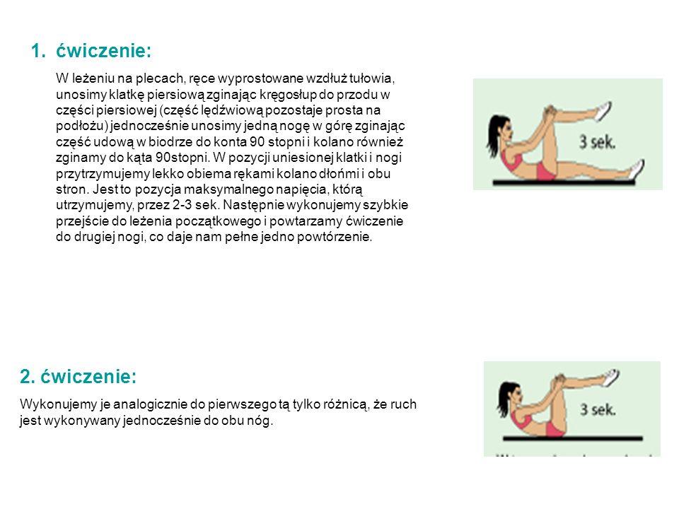 1.ćwiczenie: W leżeniu na plecach, ręce wyprostowane wzdłuż tułowia, unosimy klatkę piersiową zginając kręgosłup do przodu w części piersiowej (część