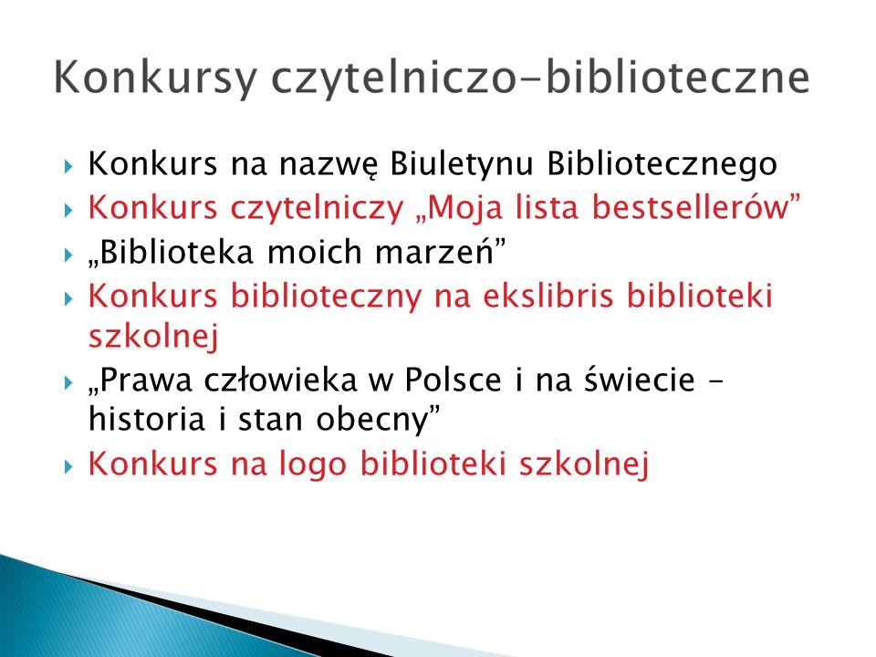 Konkurs na nazwę Biuletynu Bibliotecznego Konkurs czytelniczy Moja lista bestsellerów Biblioteka moich marzeń Konkurs biblioteczny na ekslibris biblioteki szkolnej Prawa człowieka w Polsce i na świecie – historia i stan obecny Konkurs na logo biblioteki szkolnej