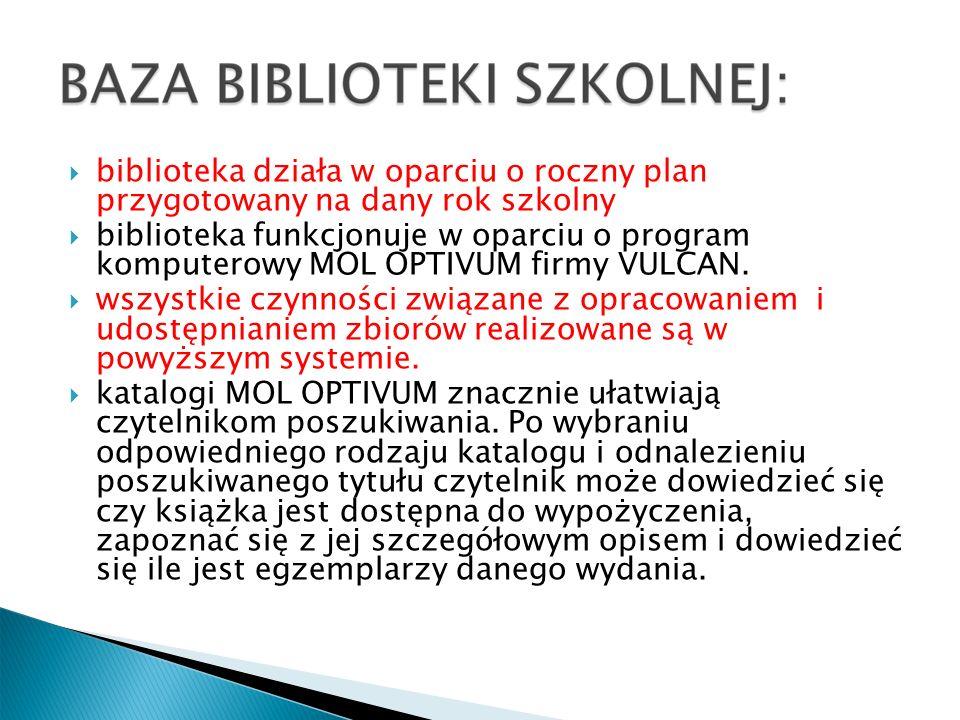 WARTOŚĆ I STRUKTURA KSIĘGOZBIORU Wartość: 217 426 zł Ubytki: 78 336,54 zł Wartość faktyczna: 139 089,88 zł Liczba woluminów: 16 610 RODZAJE DOKUMENTÓW GROMADZONYCH W BIBLIOTECE : książki – zbiory ułożone według UKD – Uniwersalnej Klasyfikacji Dziesiętnej-wolny dostęp do półek kasety wideo kasety magnetofonowe płyty CD czasopisma polskie czasopisma francuskie