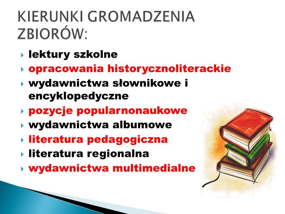 uzupełnianie zbiorów biblioteki zgodnie z propozycjami dyrekcji, nauczycieli oraz potrzebami uczniów ewidencjonowanie i opracowanie zbiorów zgodnie z obowiązującą normą-PN-N-01152 przeprowadzanie bieżącej selekcji jako przygotowanie do skontrum sporządzanie dziennej, semestralnej i końcoworocznej statystyki aktywności czytelniczej uczniów