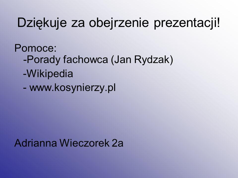 Dziękuje za obejrzenie prezentacji! Pomoce: -Porady fachowca (Jan Rydzak) -Wikipedia - www.kosynierzy.pl Adrianna Wieczorek 2a