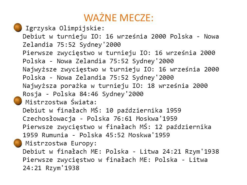 WAŻNE MECZE: Igrzyska Olimpijskie: Debiut w turnieju IO: 16 września 2000 Polska - Nowa Zelandia 75:52 Sydney 2000 Pierwsze zwycięstwo w turnieju IO: 16 września 2000 Polska - Nowa Zelandia 75:52 Sydney 2000 Najwyższe zwycięstwo w turnieju IO: 16 września 2000 Polska - Nowa Zelandia 75:52 Sydney 2000 Najwyższa porażka w turnieju IO: 18 września 2000 Rosja - Polska 84:46 Sydney 2000 Mistrzostwa Świata: Debiut w finałach MŚ: 10 października 1959 Czechosłowacja - Polska 76:61 Moskwa 1959 Pierwsze zwycięstwo w finałach MŚ: 12 października 1959 Rumunia - Polska 45:52 Moskwa 1959 Mistrzostwa Europy: Debiut w finałach ME: Polska - Litwa 24:21 Rzym 1938 Pierwsze zwycięstwo w finałach ME: Polska - Litwa 24:21 Rzym 1938