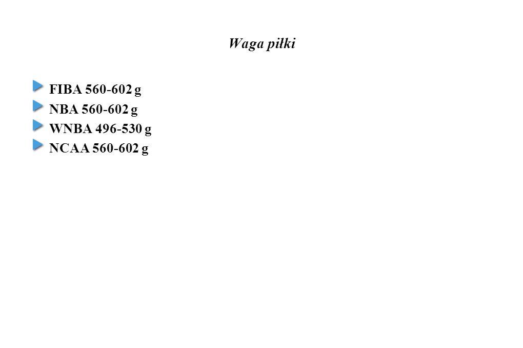 Waga piłki FIBA 560-602 g NBA 560-602 g WNBA 496-530 g NCAA 560-602 g