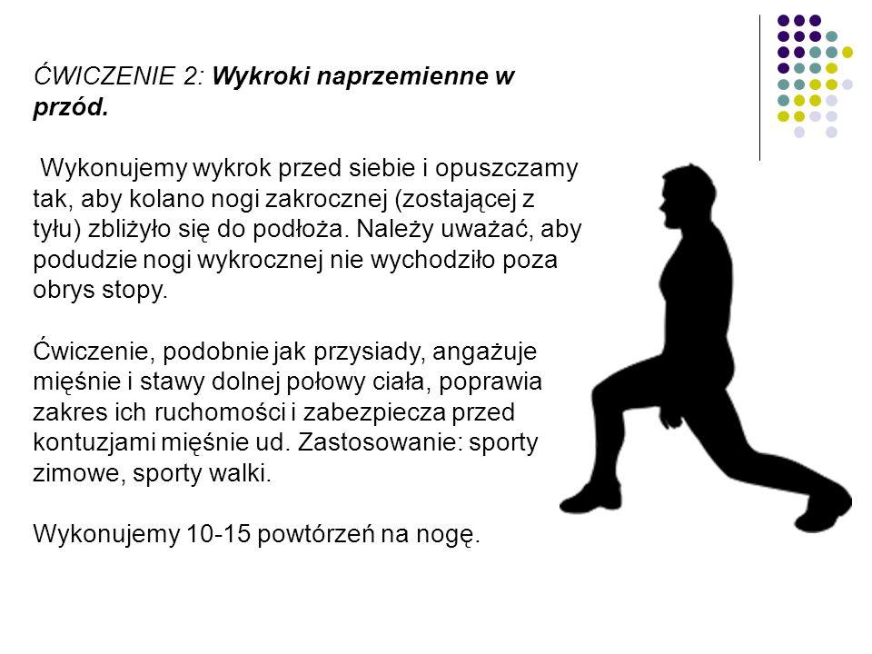 ĆWICZENIE 2: Wykroki naprzemienne w przód. Wykonujemy wykrok przed siebie i opuszczamy tak, aby kolano nogi zakrocznej (zostającej z tyłu) zbliżyło si