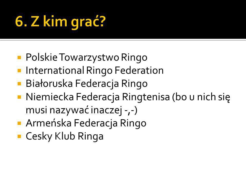 Polskie Towarzystwo Ringo International Ringo Federation Białoruska Federacja Ringo Niemiecka Federacja Ringtenisa (bo u nich się musi nazywać inaczej