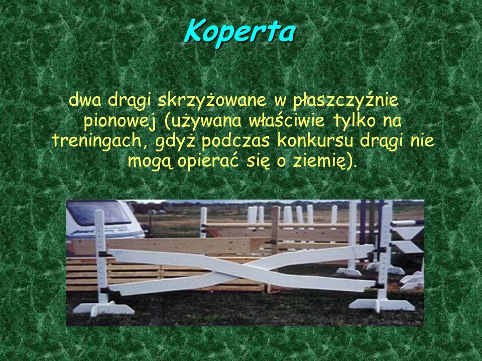Koperta dwa drągi skrzyżowane w płaszczyźnie pionowej (używana właściwie tylko na treningach, gdyż podczas konkursu drągi nie mogą opierać się o ziemię).