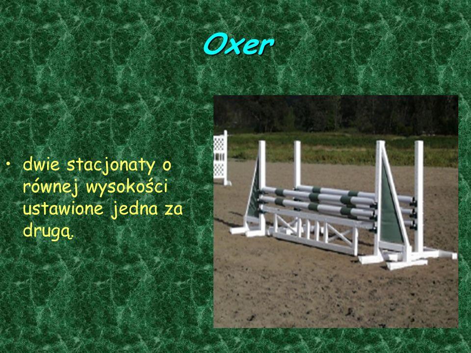 Oxer dwie stacjonaty o równej wysokości ustawione jedna za drugą.