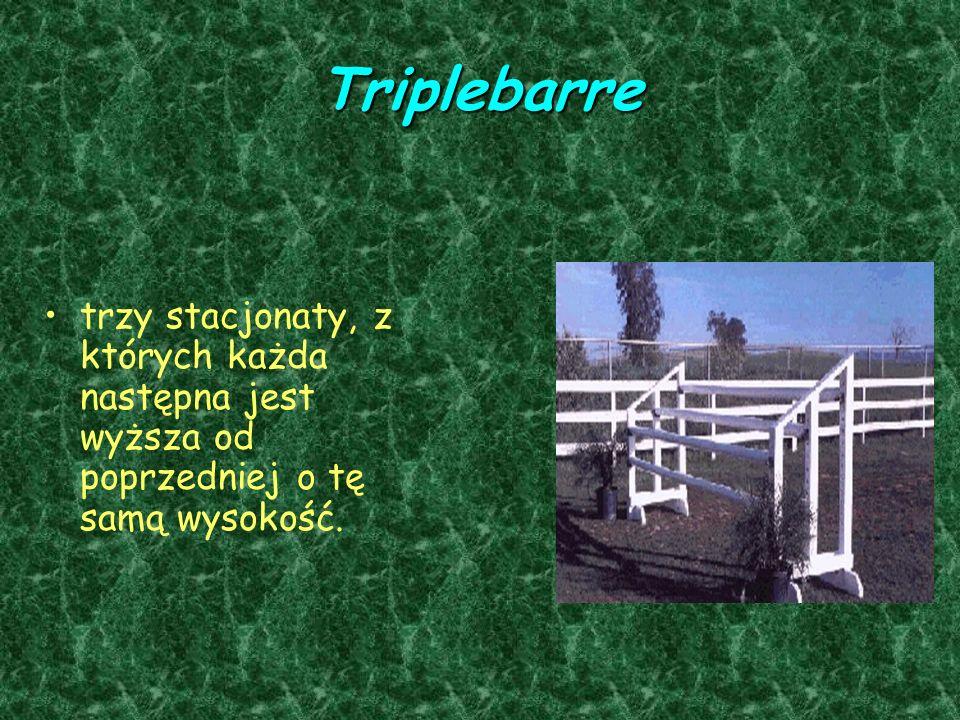 Triplebarre trzy stacjonaty, z których każda następna jest wyższa od poprzedniej o tę samą wysokość.