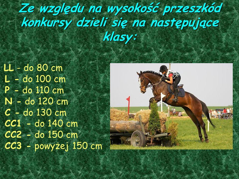 Ze względu na wysokość przeszkód konkursy dzieli się na następujące klasy: LL - do 80 cm L - do 100 cm P - do 110 cm N - do 120 cm C - do 130 cm CC1 -