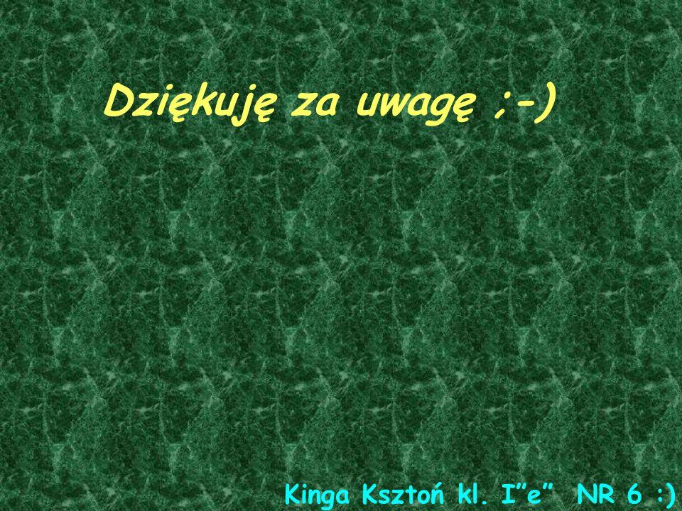Dziękuję za uwagę ;-) Kinga Ksztoń kl. Ie NR 6 :)