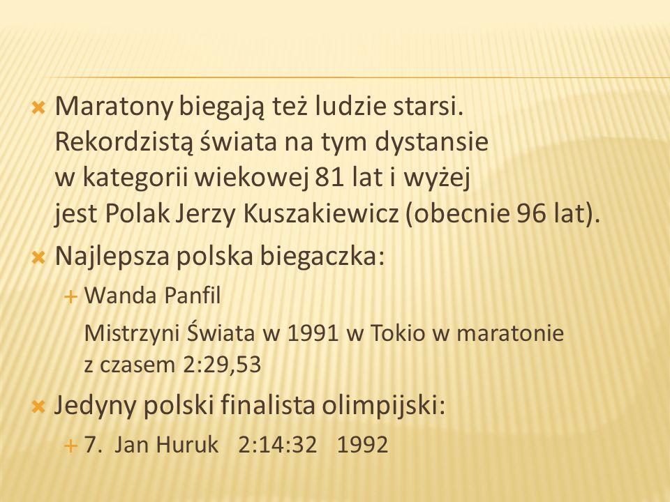 Maratony biegają też ludzie starsi. Rekordzistą świata na tym dystansie w kategorii wiekowej 81 lat i wyżej jest Polak Jerzy Kuszakiewicz (obecnie 96