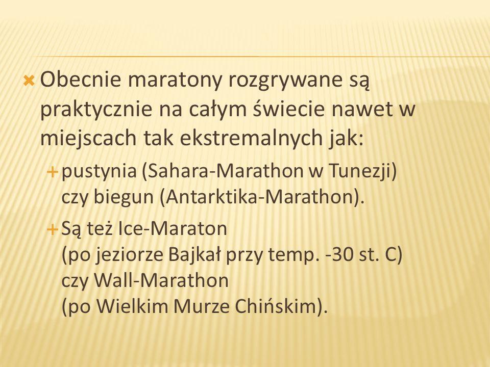 Obecnie maratony rozgrywane są praktycznie na całym świecie nawet w miejscach tak ekstremalnych jak: pustynia (Sahara-Marathon w Tunezji) czy biegun (