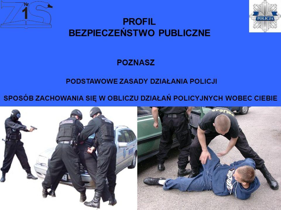 PROFIL BEZPIECZEŃSTWO PUBLICZNE PODSTAWOWE ZASADY DZIAŁANIA POLICJI SPOSÓB ZACHOWANIA SIĘ W OBLICZU DZIAŁAŃ POLICYJNYCH WOBEC CIEBIE POZNASZ