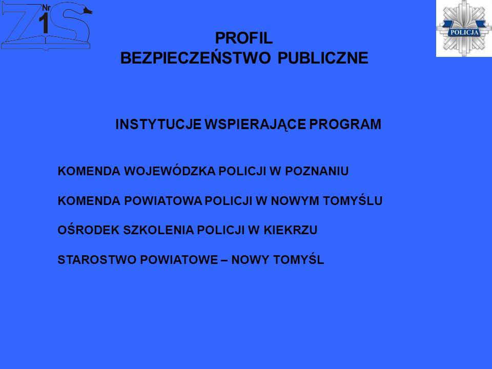 PROFIL BEZPIECZEŃSTWO PUBLICZNE KOMENDA WOJEWÓDZKA POLICJI W POZNANIU KOMENDA POWIATOWA POLICJI W NOWYM TOMYŚLU OŚRODEK SZKOLENIA POLICJI W KIEKRZU ST