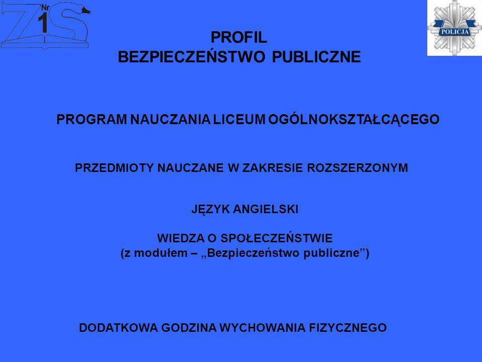 PROFIL BEZPIECZEŃSTWO PUBLICZNE JĘZYK ANGIELSKI WIEDZA O SPOŁECZEŃSTWIE (z modułem – Bezpieczeństwo publiczne) PROGRAM NAUCZANIA LICEUM OGÓLNOKSZTAŁCĄ