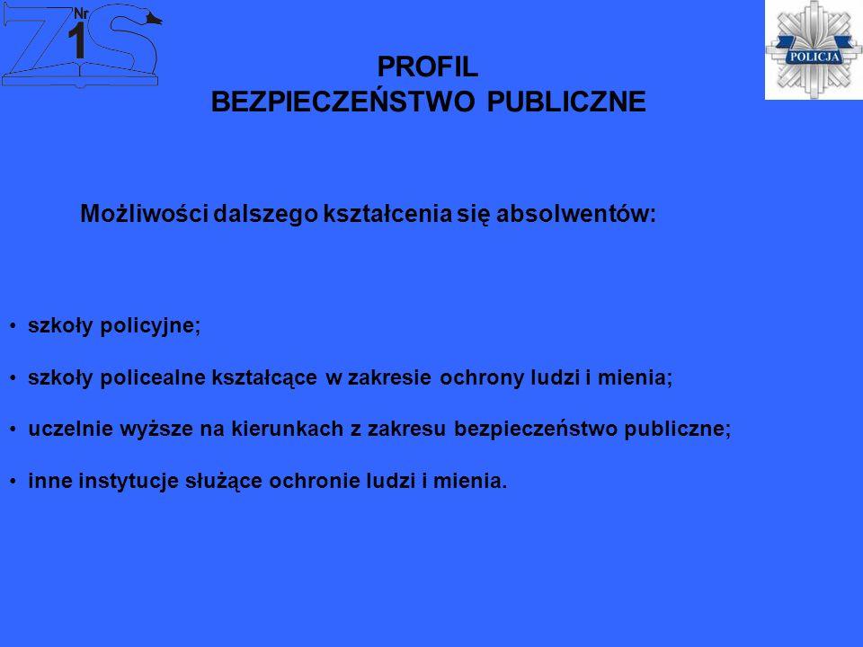 PROFIL BEZPIECZEŃSTWO PUBLICZNE szkoły policyjne; szkoły policealne kształcące w zakresie ochrony ludzi i mienia; uczelnie wyższe na kierunkach z zakr