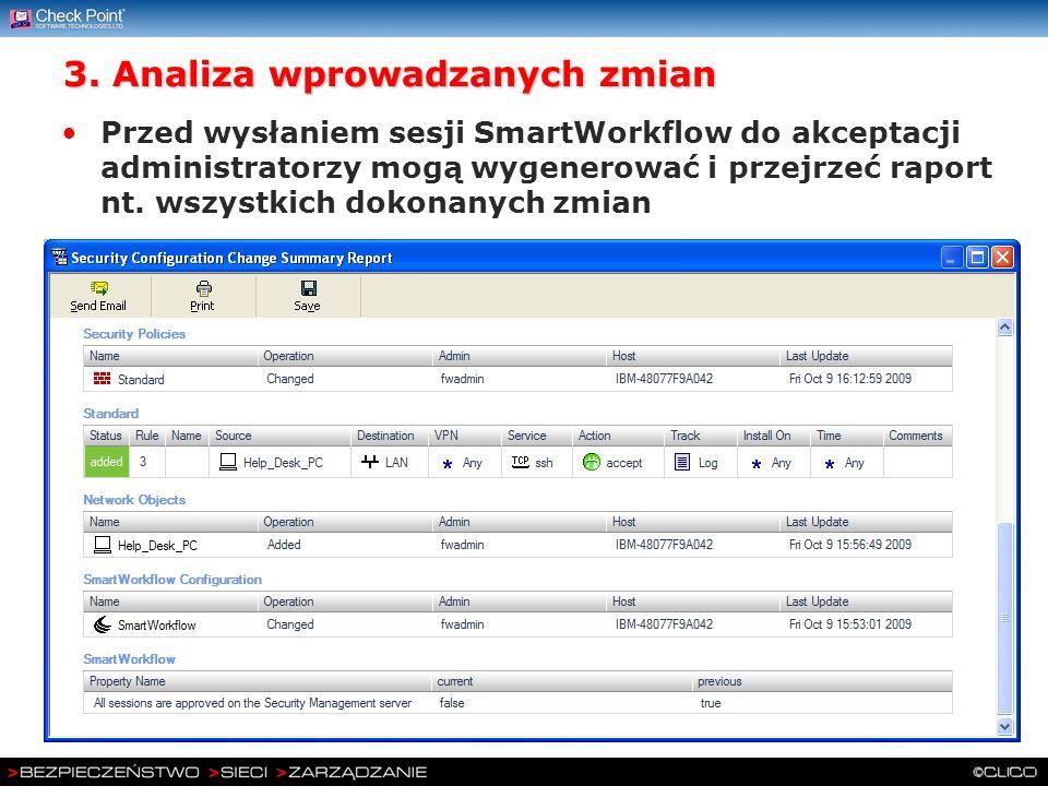 3. Analiza wprowadzanych zmian Przed wysłaniem sesji SmartWorkflow do akceptacji administratorzy mogą wygenerować i przejrzeć raport nt. wszystkich do