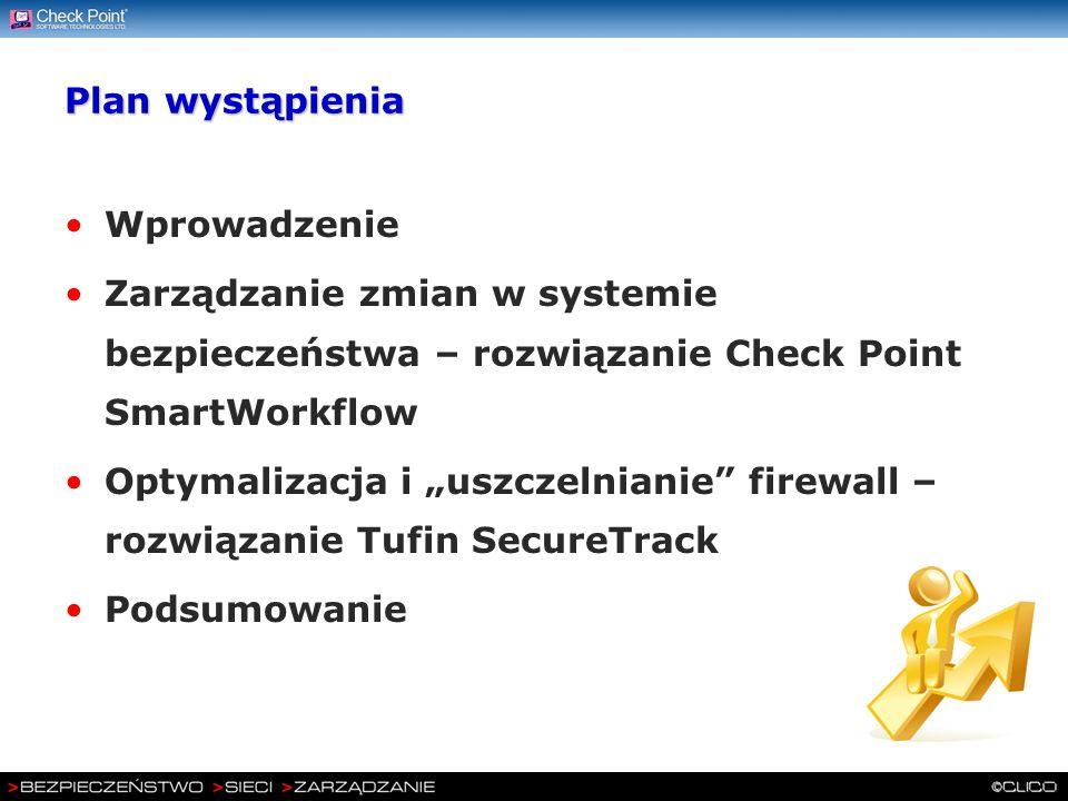 Plan wystąpienia Wprowadzenie Zarządzanie zmian w systemie bezpieczeństwa – rozwiązanie Check Point SmartWorkflow Optymalizacja i uszczelnianie firewa