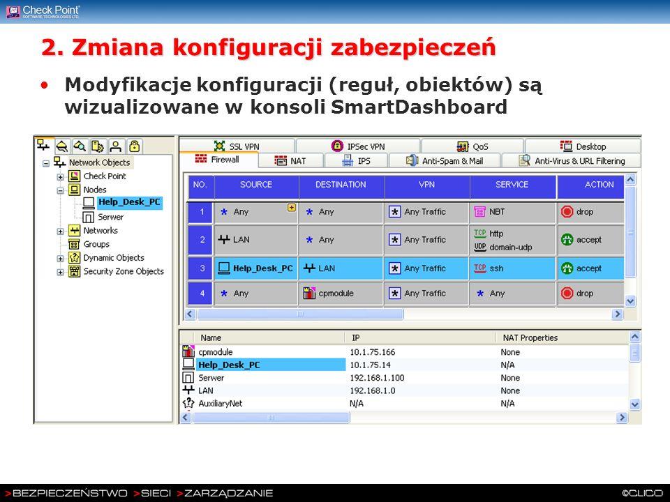 2. Zmiana konfiguracji zabezpieczeń Modyfikacje konfiguracji (reguł, obiektów) są wizualizowane w konsoli SmartDashboard