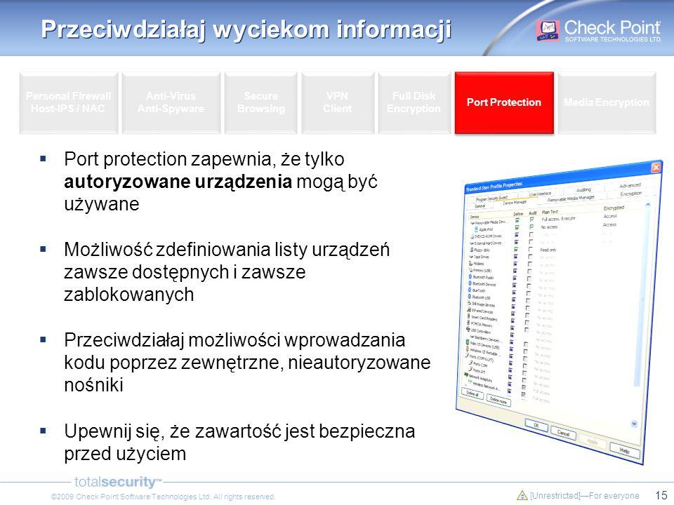 15 [Unrestricted]For everyone ©2009 Check Point Software Technologies Ltd. All rights reserved. Przeciwdziałaj wyciekom informacji Port protection zap